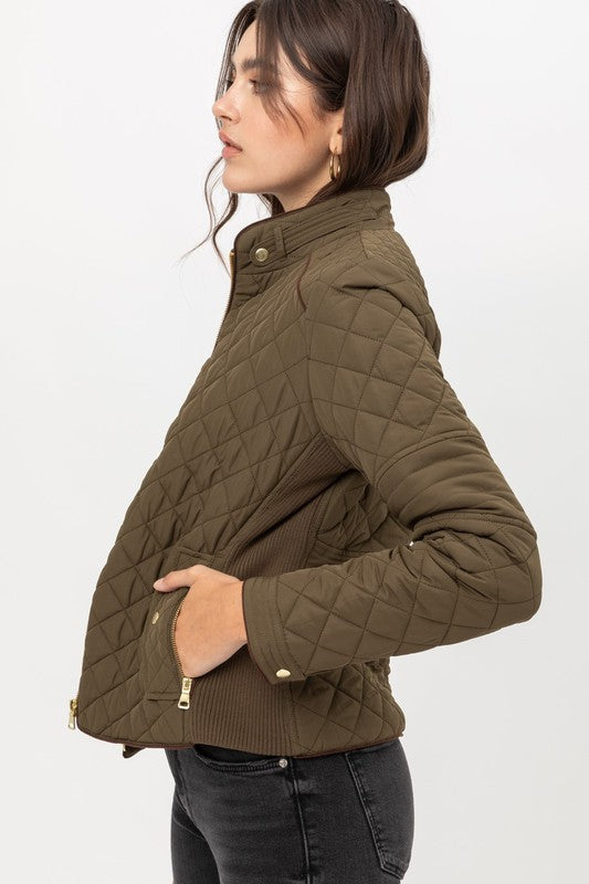 Sawyer Quilted Jacket in Olive