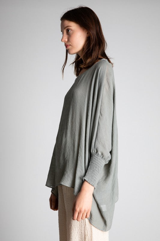 The Camille Blouse in Steel Grey