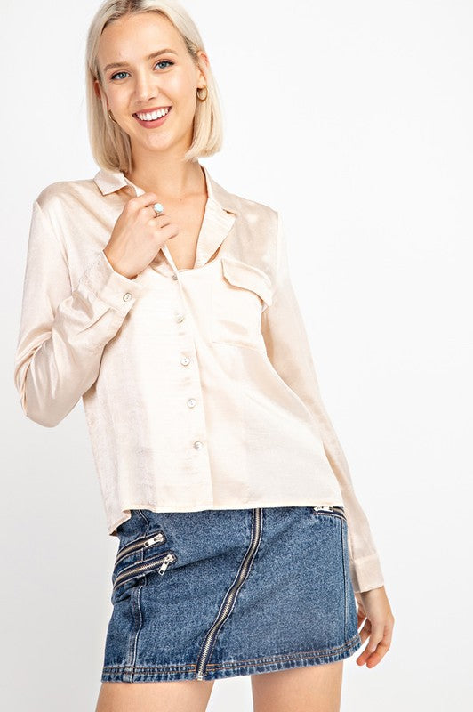 Fashionably Late Satin Blouse