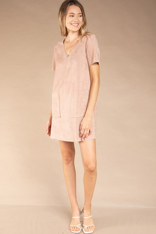 Keegan Suede Dress Dusty Rose