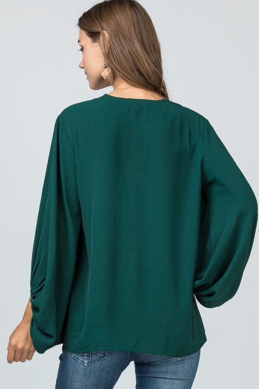 Get To Work Blouse Hunter Green