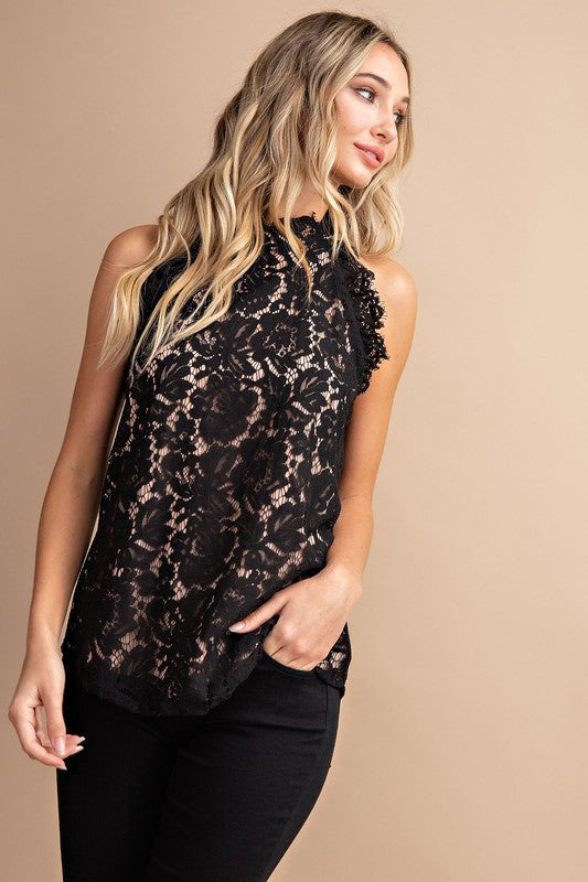 The Mary Lace Blouse in Black