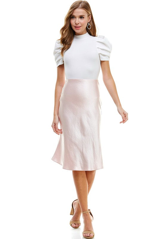The Kailey Satin Midi Skirt Light Pink