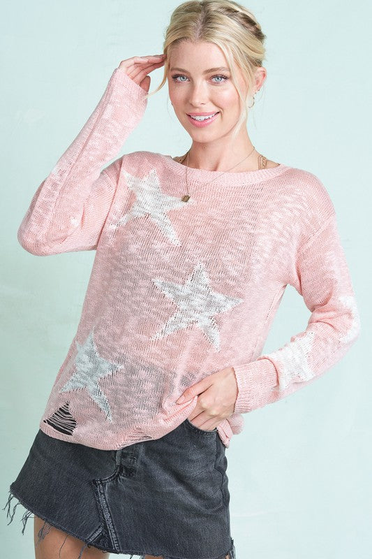 Under The Stars Sweater Light Pink