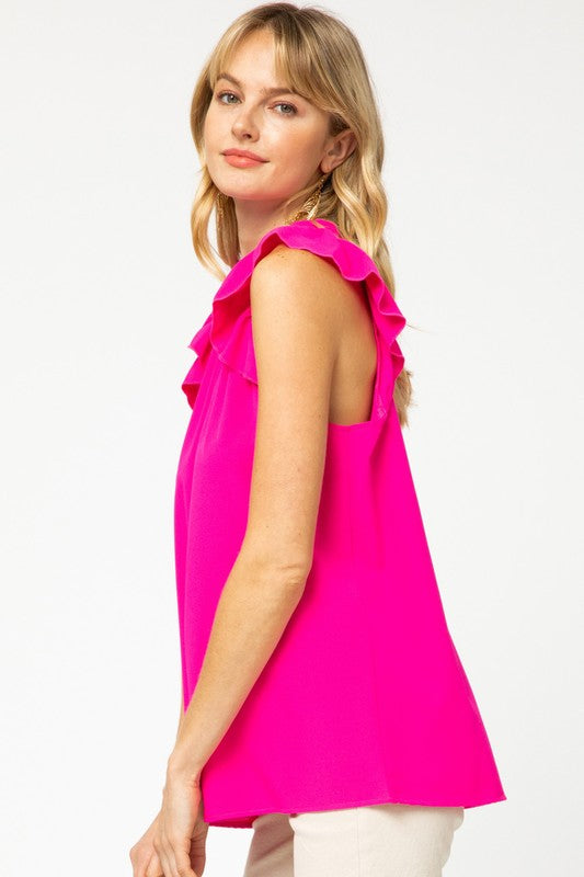 The Abigail Top in Hot Pink