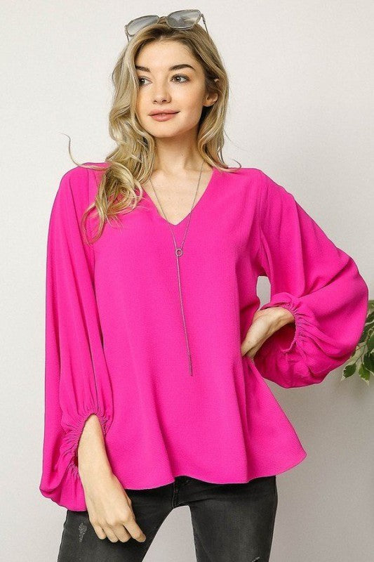 Danielle Blouse in Hot Pink