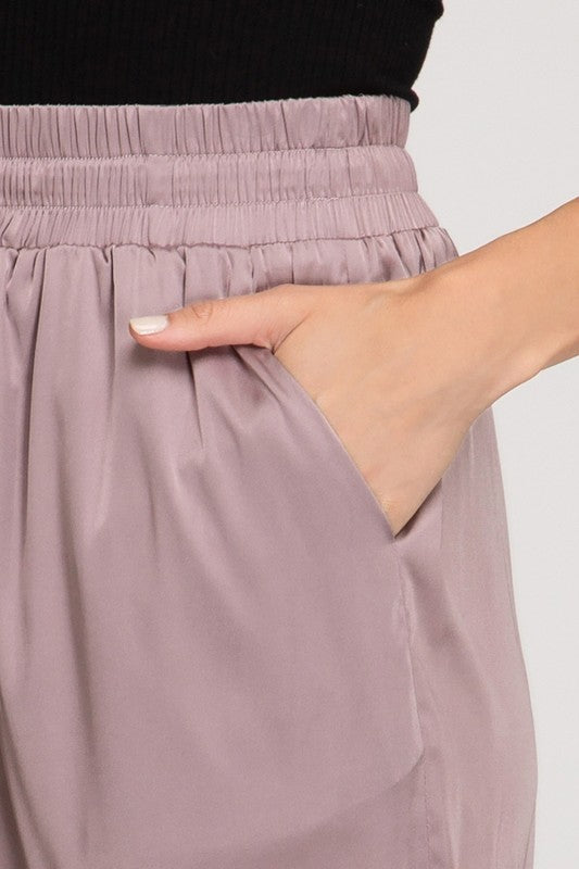 Maddie Satin Joggers in Mauve
