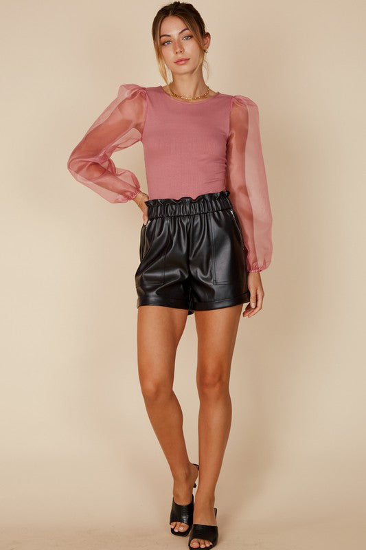 The Alex Leather Shorts in Black