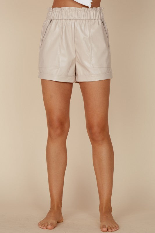 The Alex Leather Shorts in Cream