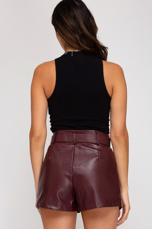 Miya Faux Leather Shorts in Wine