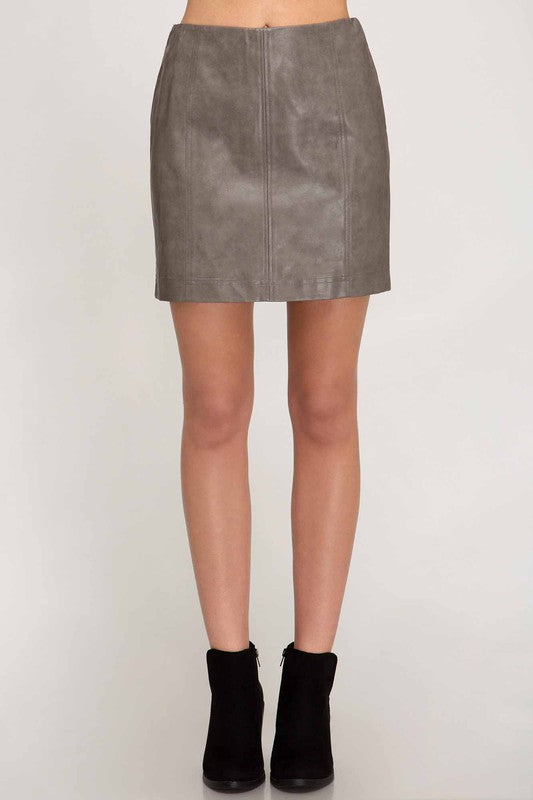 Logan Leather Skirt in Mocha Grey