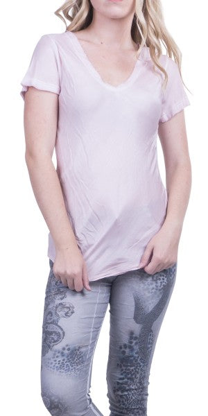 Gigi Moda Raw Edge Short Sleeve V-Neck Tee Pink