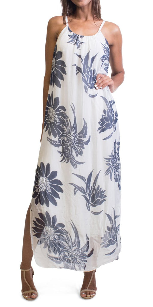 Gigi Moda Big Floral Print Maxi Dress White