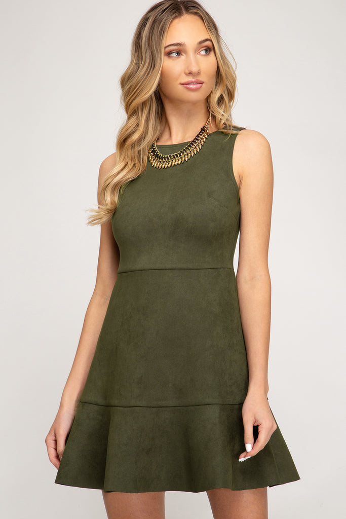 Olive Your Love Suede Dress