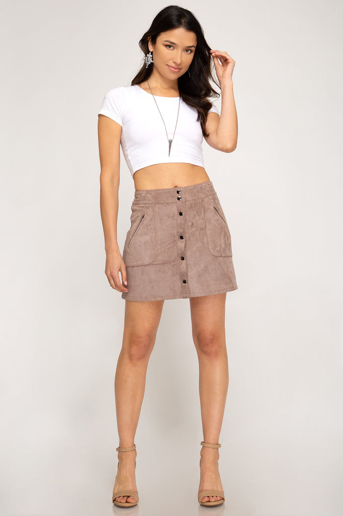 Button Down Baby Faux Suede Skirt