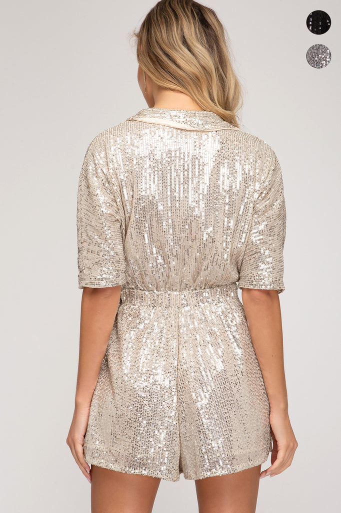 Dazzle Them Darling Sequin Romper