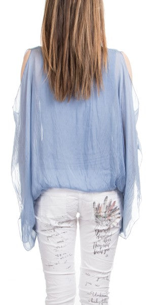 Gigi Moda Cold Shoulder Silk Blouse W/Balloon Hem Baby Blue
