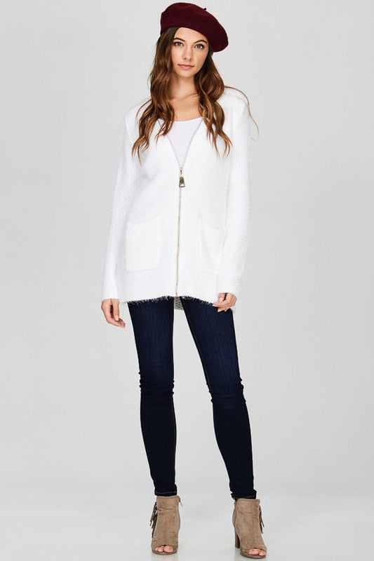 Zip Your Lips Cardigan White