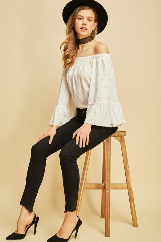 Off the Shoulder Pearl Sleeve Blouse