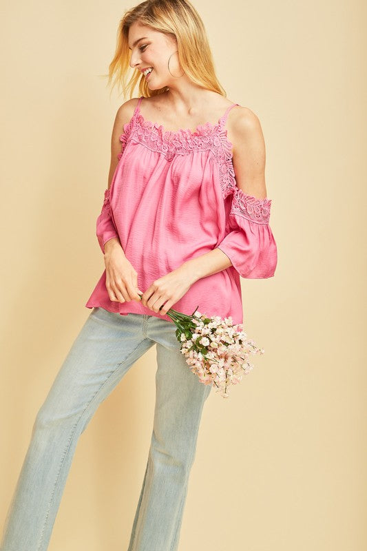 Giving You the Cold Shoulder Top Pink