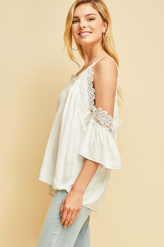 Giving You the Cold Shoulder Top White