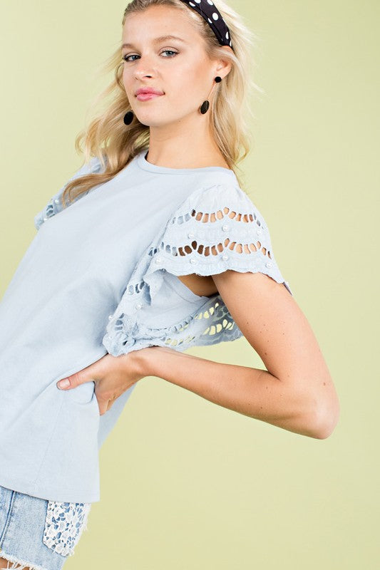Eyelet Sleeve Top with Pearls