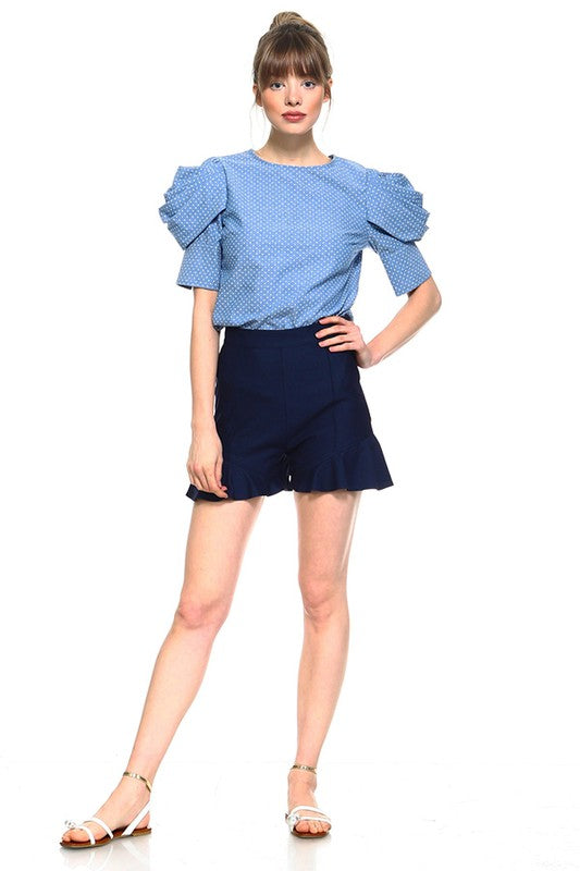 Denim To Sky Valley Ruffled Shorts
