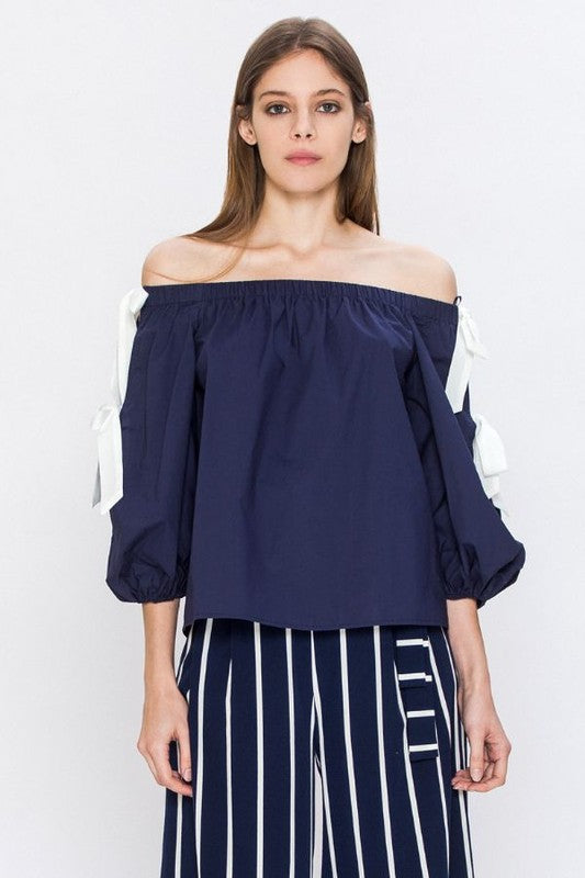 e04edac39115d0 Off the Shoulder Top with Peekaboo Puff Sleeve
