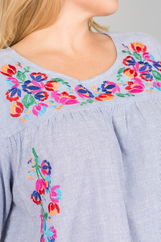 Embroidery Detail Stripe Dress