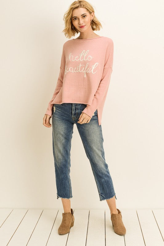 Hello Beautiful Sweater Pink Plus Size