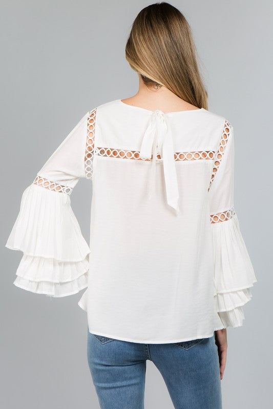 Pleated Perfection Top White