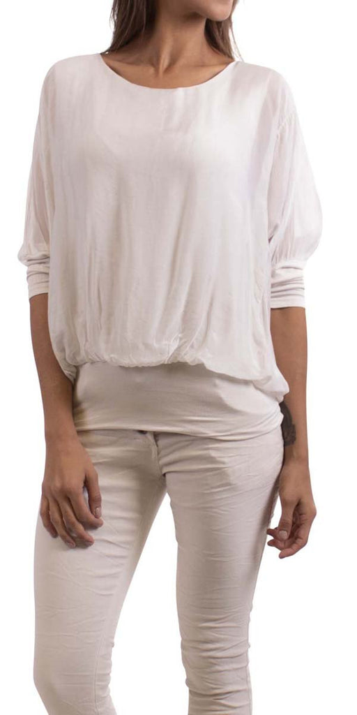 Gigi Moda Silk Top W/ Bottom Band White