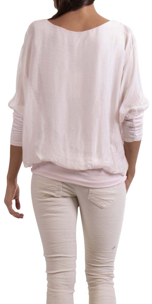 Gigi Moda Silk Top W/ Bottom Band Pink