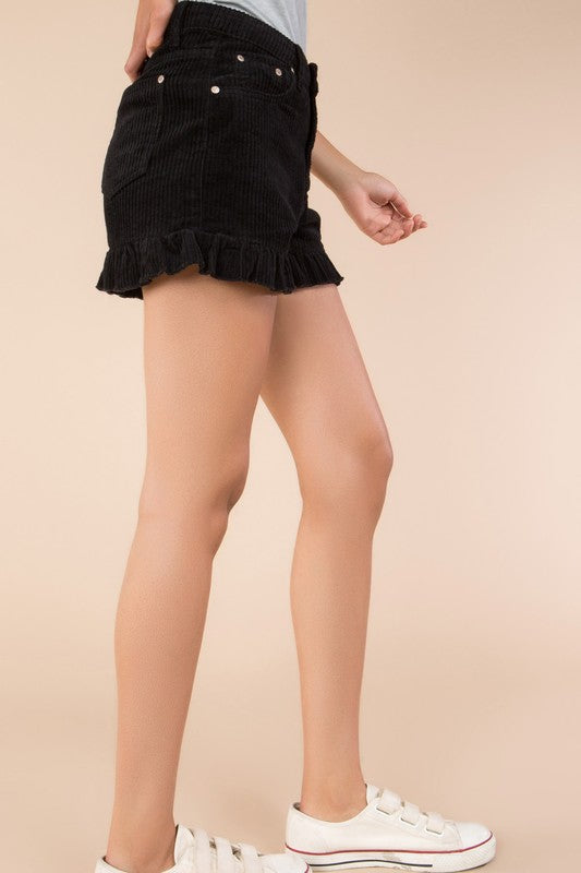 Caught By Cupid Corduroy Shorts Black