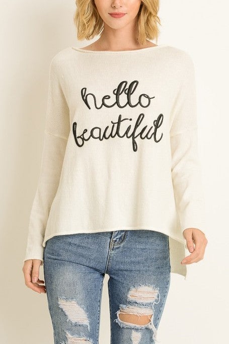 Hello Beautiful Sweater White