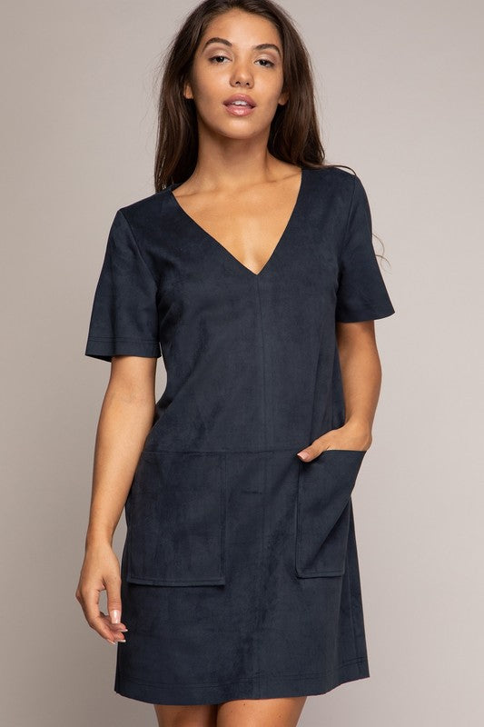 Keegan Suede Dress Navy