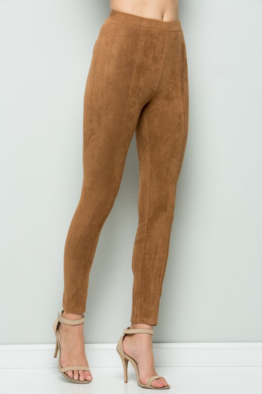 Catwalk Faux Suede Leggings Tan