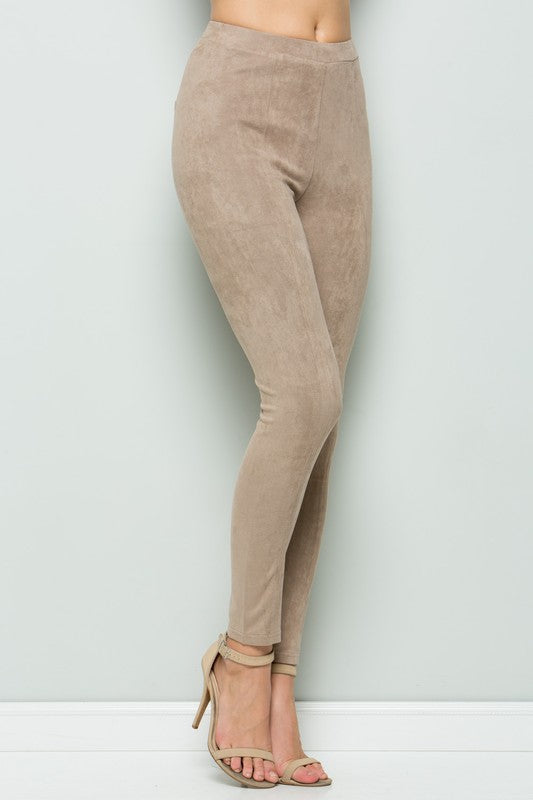 Catwalk Faux Suede Leggings Taupe