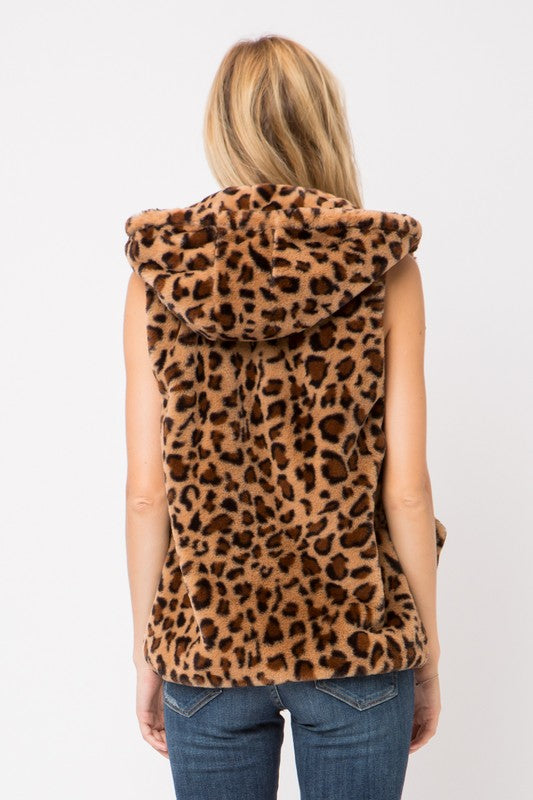 Little Leopard Print Faux Fur Vest