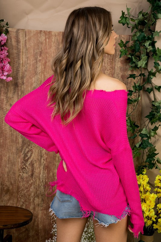 Distressed to Impress Lightweight Sweater Hot Pink