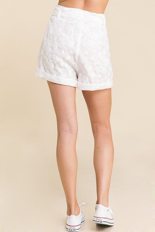 Stop and Smell the Roses Shorts White