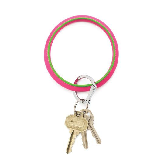 O-Venture Pink & Green Leather Key Ring