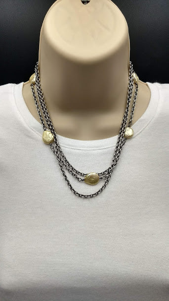 Linkable Yellow Coin Pearls and Sterling Silver Necklace, expandable