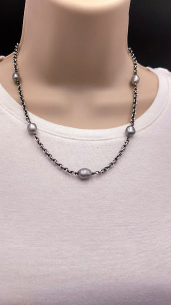 "Linkable short 18"" silver-gray pearl and sterling silver necklace"