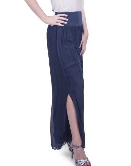 Gigi Moda Solid Silk Pant w/Side Split Navy