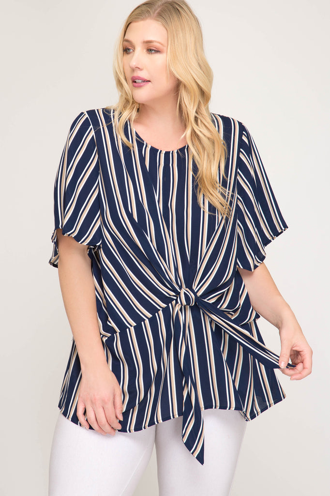 Live For the Day Striped Plus Size Top