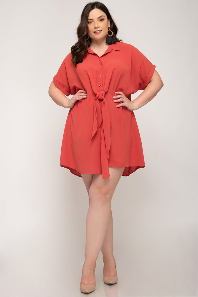 Take It All In Button Down Plus Size Dress
