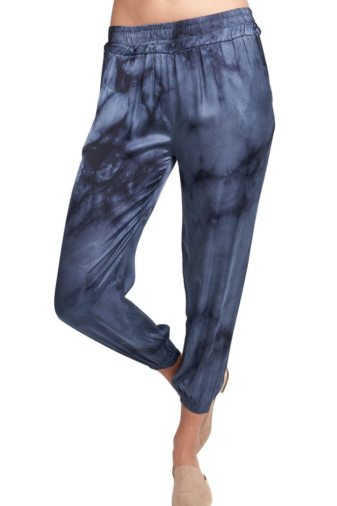 Sofia Silk Joggers in Navy