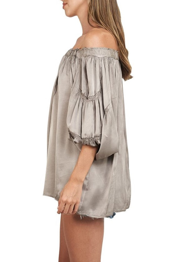 Sofia Off Shoulder Silk Blouse Taupe