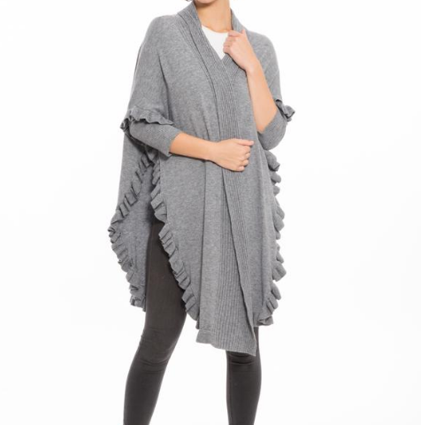 Mademoiselle Draped Cardigan Grey